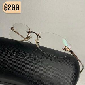 Chanel Rimless CC Clear Lens Glasses Vintage Rare